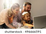little girl spending time with... | Shutterstock . vector #496666591