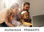 little girl spending time with... | Shutterstock . vector #496666591