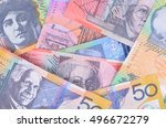 pile of australian currency | Shutterstock . vector #496672279
