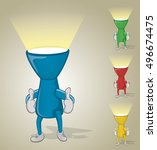 flashlight with two thumbs up | Shutterstock .eps vector #496674475
