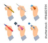 men's hands with writing tools... | Shutterstock .eps vector #496682554