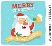 happy santa with beer. merry... | Shutterstock .eps vector #496683169