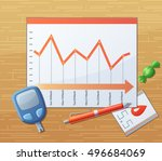 testing blood sugar level ... | Shutterstock .eps vector #496684069