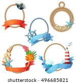 set of sea frames. ropes with... | Shutterstock .eps vector #496685821