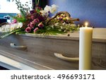 a coffin with flower... | Shutterstock . vector #496693171