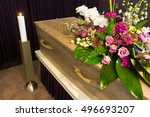 a coffin with flower... | Shutterstock . vector #496693207
