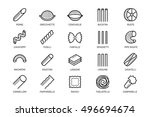 pasta vector icon set in thin... | Shutterstock .eps vector #496694674