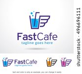 fast cafe logo template design... | Shutterstock .eps vector #496696111