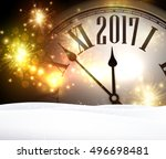 2017 year background with clock ... | Shutterstock .eps vector #496698481