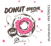donut with sprinkles and... | Shutterstock .eps vector #496709011