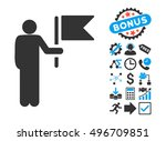 commander with flag pictograph... | Shutterstock .eps vector #496709851