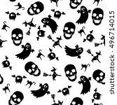 seamless halloween texture  | Shutterstock . vector #496714015
