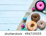 colorful donuts breakfast... | Shutterstock . vector #496719355