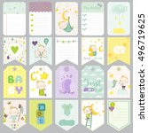 baby boy tags  banners.... | Shutterstock .eps vector #496719625