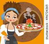 italian pizza | Shutterstock .eps vector #496724365