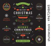 christmas labels and badges... | Shutterstock .eps vector #496724845