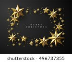 christmas frame made of cutout... | Shutterstock .eps vector #496737355