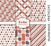 boho seamless patterns set.... | Shutterstock .eps vector #496741141
