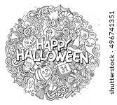cartoon cute doodles hand drawn ... | Shutterstock .eps vector #496741351