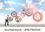 man put abstract 3d metal...   Shutterstock . vector #496746544