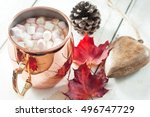 hot chocolate  topped with...   Shutterstock . vector #496747729