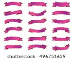 banner purple vector icon set... | Shutterstock .eps vector #496751629
