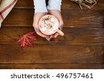 cup of cappuccino with autumn... | Shutterstock . vector #496757461