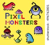 set of pixel colorful monsters. ... | Shutterstock .eps vector #496762801