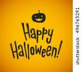happy halloween vector... | Shutterstock .eps vector #496765291