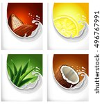 milk splash with cacao  lemon... | Shutterstock .eps vector #496767991