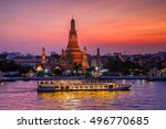 wat arun and cruise ship in... | Shutterstock . vector #496770685