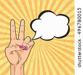 peace hand sign with speech... | Shutterstock . vector #496780015