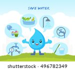 save the water infographic ... | Shutterstock .eps vector #496782349