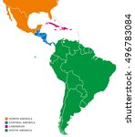 latin america regions political ... | Shutterstock .eps vector #496783084
