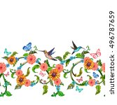 seamless border with blossom... | Shutterstock . vector #496787659