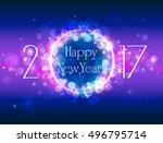 happy new year vector purple... | Shutterstock .eps vector #496795714