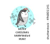 abstract penguin in santa hats. ... | Shutterstock .eps vector #496801141