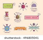 knitting and sewing vector... | Shutterstock .eps vector #496805041