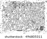 back to school themed doodle... | Shutterstock .eps vector #496805311