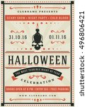 halloween night party poster... | Shutterstock .eps vector #496806421