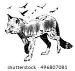 vector double exposure ... | Shutterstock .eps vector #496807081