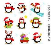 cute penguin set | Shutterstock .eps vector #496807087