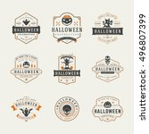 halloween celebration labels... | Shutterstock .eps vector #496807399