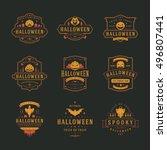 halloween celebration labels... | Shutterstock .eps vector #496807441