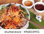 bibimbap korean food is... | Shutterstock . vector #496810951