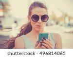 closeup portrait upset sad ... | Shutterstock . vector #496814065