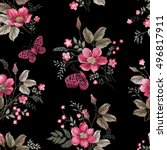seamless floral pattern with... | Shutterstock .eps vector #496817911