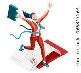 businesswoman career building... | Shutterstock .eps vector #496819564