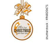 christmas ball with orange... | Shutterstock .eps vector #496820671