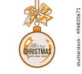 christmas ball with orange... | Shutterstock .eps vector #496820671